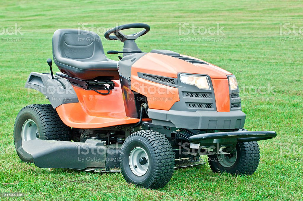 Gasoline lawn mower stock photo