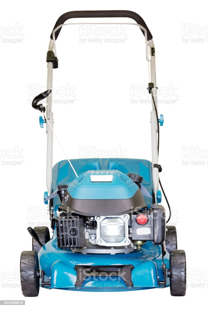 Gasoline mower isolated on white background, high resolution, facade view stock photo