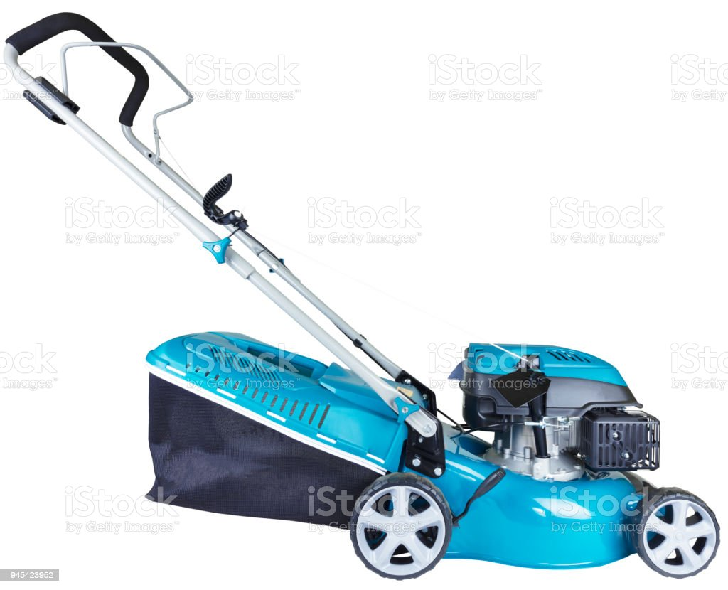 Gasoline mower isolated on white background, high resolution, profile view stock photo