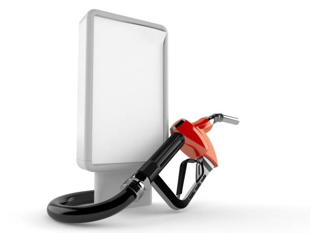 Gasoline nozzle with blank billboard - foto stock