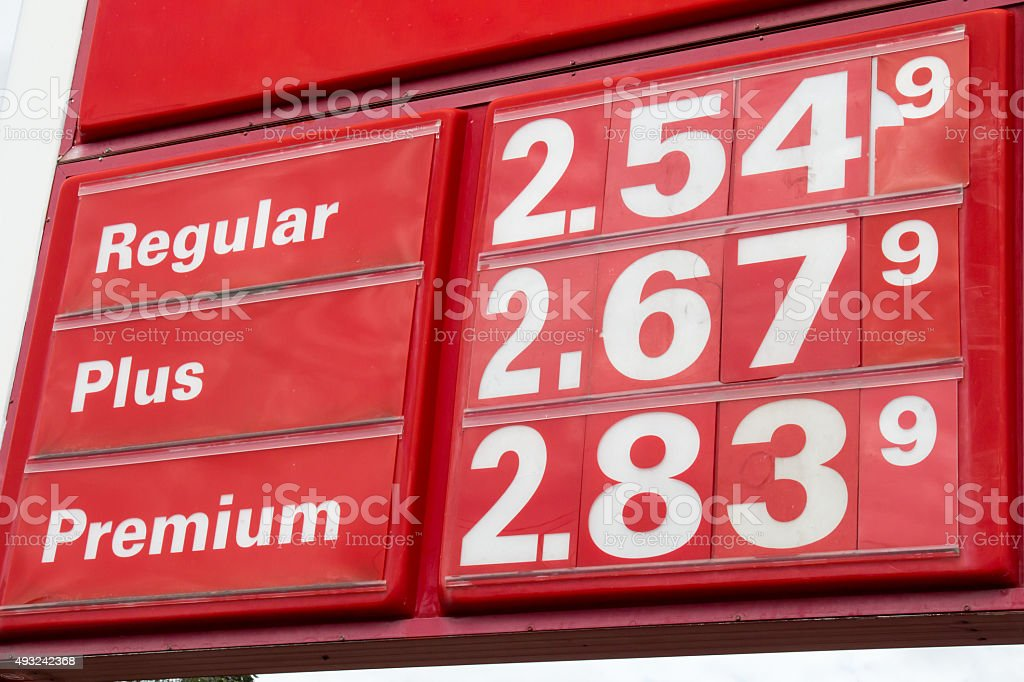 Gasoline prices - Regular, Plus and Premium stock photo