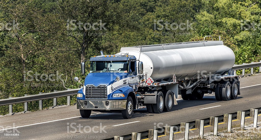 Gasoline Tanker Truck On The Interstate royalty-free stock photo