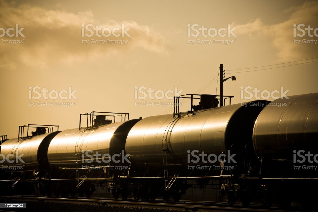 Gasoline Train at Sunset stock photo