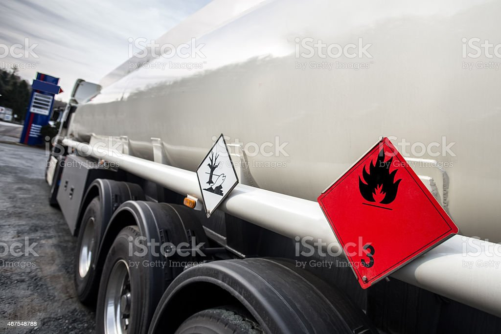 gasoline transporter stock photo