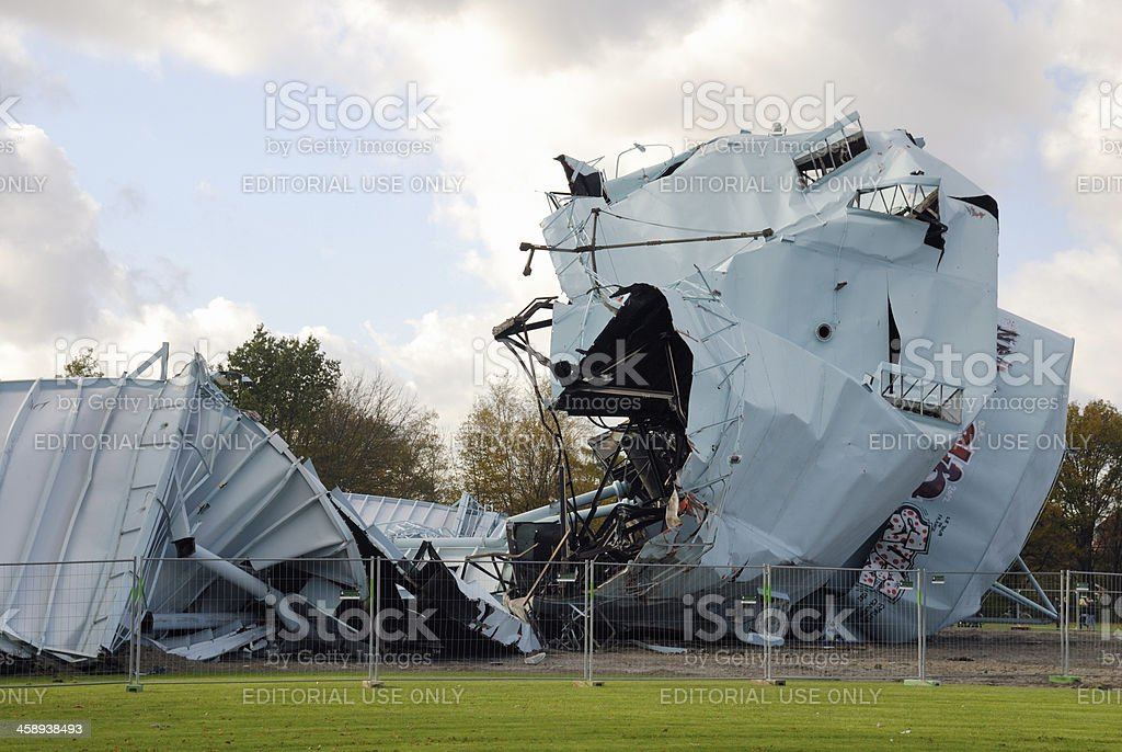 Gasometer after explosion. royalty-free stock photo
