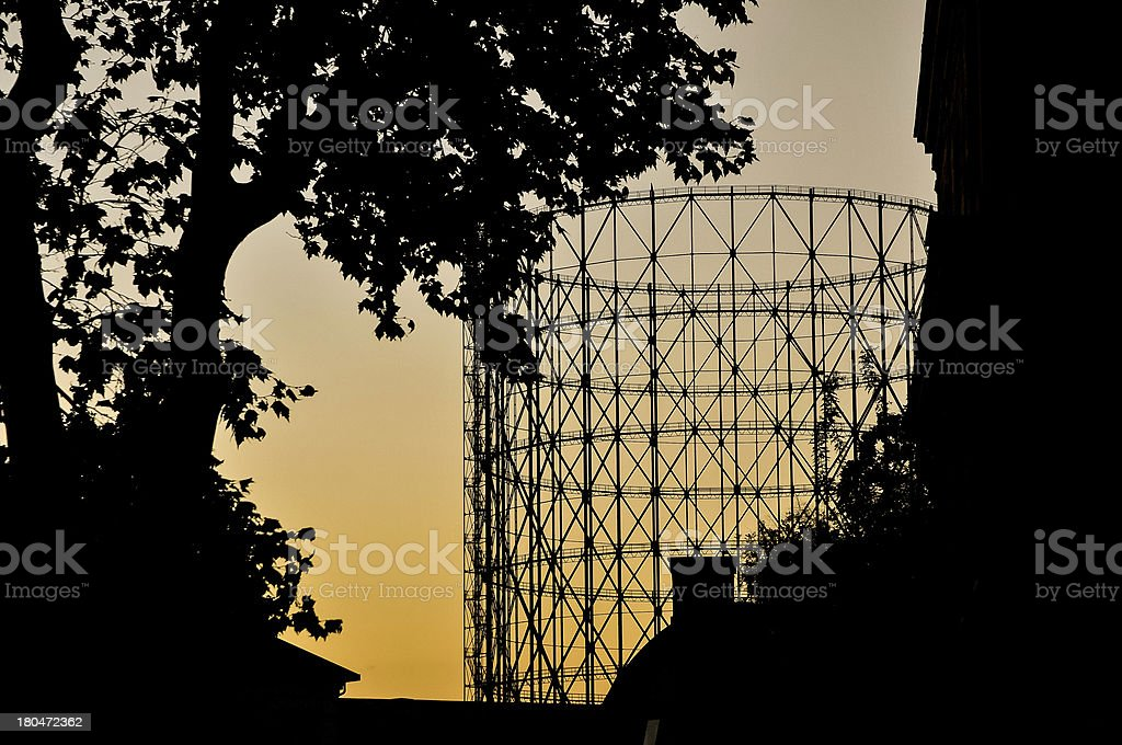 Gasometer at sunset royalty-free stock photo