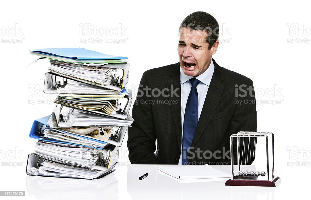Gasping, desperate executive eyes work overload in panic royalty-free stock photo