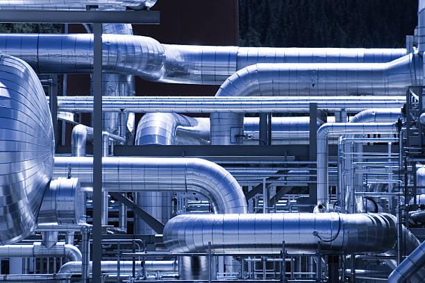 gasplant ductwork - gas stockfoto's en -beelden
