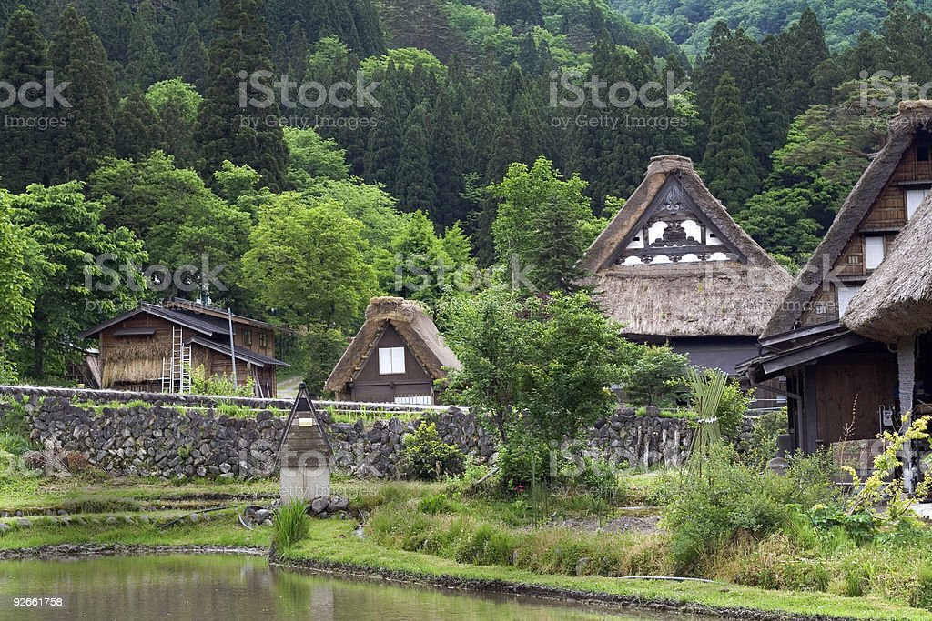 Gassho style houses, Shirakawa Village, Japan stock photo