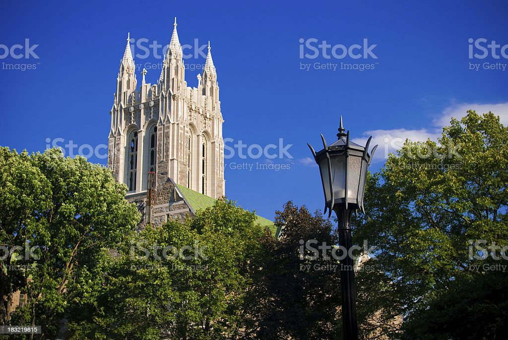 Gasson Hall on Boston College campus in Chestnut Hill, MA stock photo