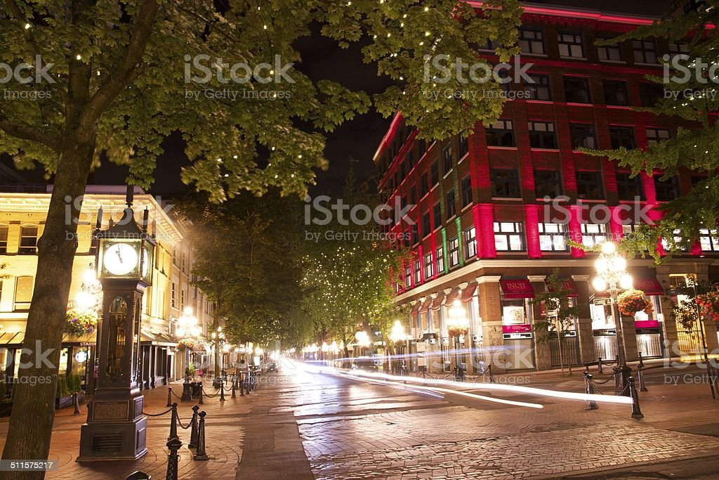 Gastown at night, Vancouver stock photo