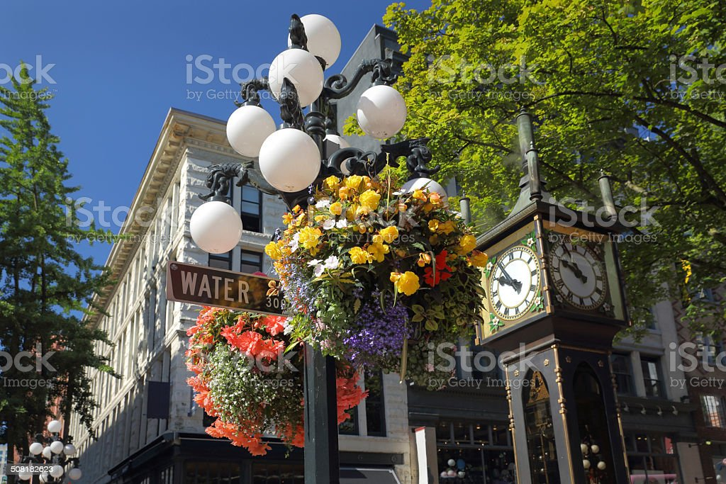 Gastown Flower Basket, Vancouver stock photo