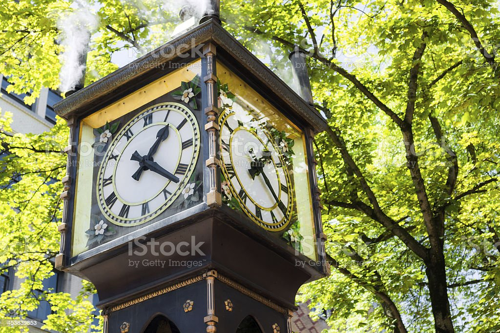 Gastown steam clock in Vancouver, British Columbia stock photo