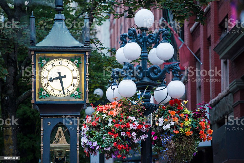 Gastown steam clock in Vancouver, British Columbia - Stock Image stock photo