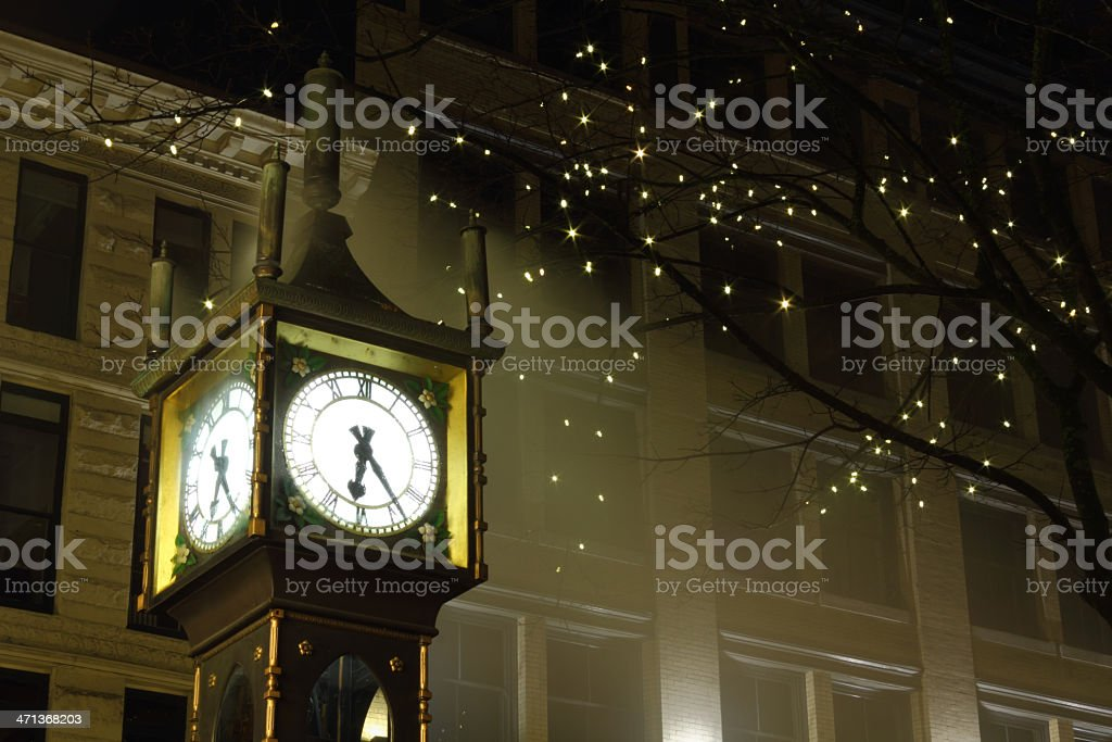Gastown Steam Clock Night, Vancouver stock photo