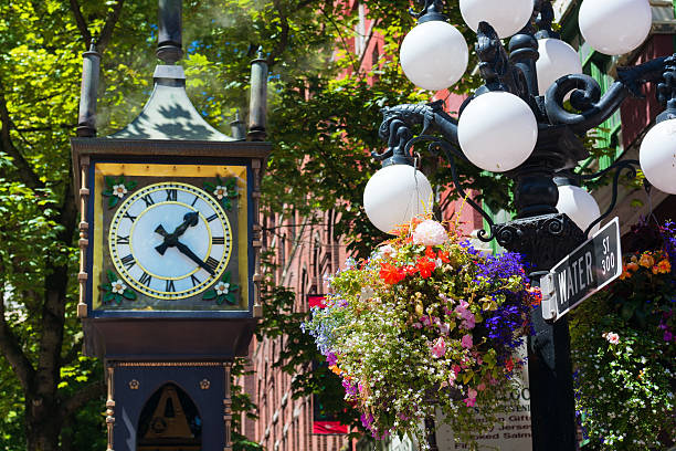 Gastown steam clock on street in Vancouver British Columbia stock photo