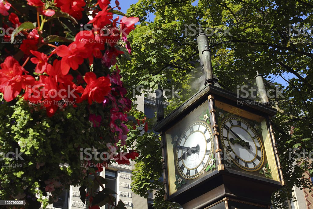 Gastown Steamclock and Flowers, Vancouver stock photo