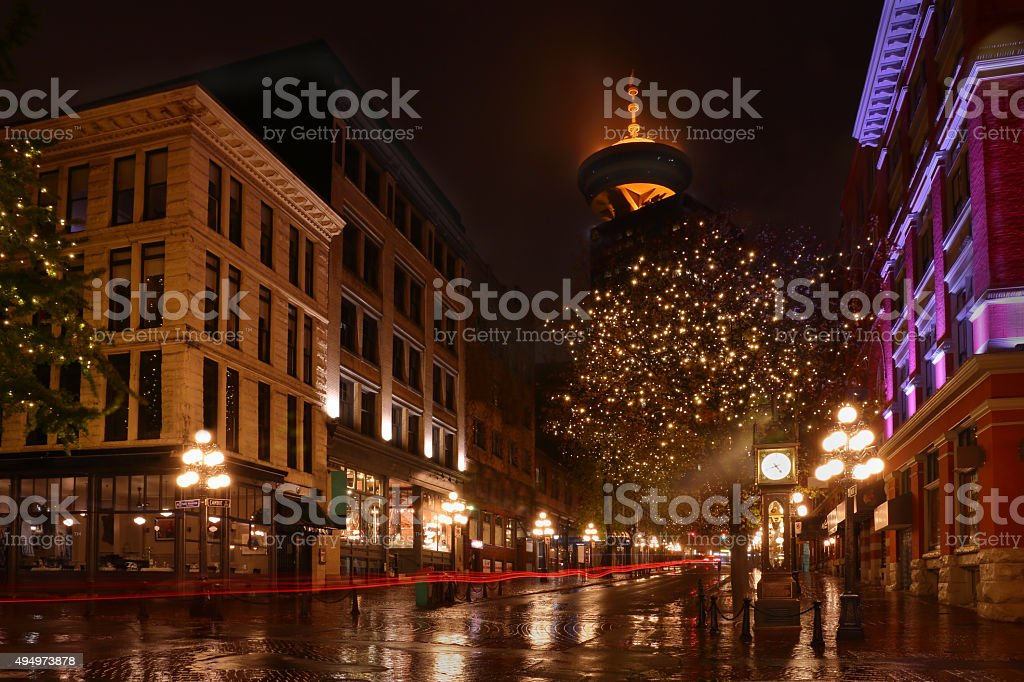 Gastown Vancouver Night, BC, Canada stock photo