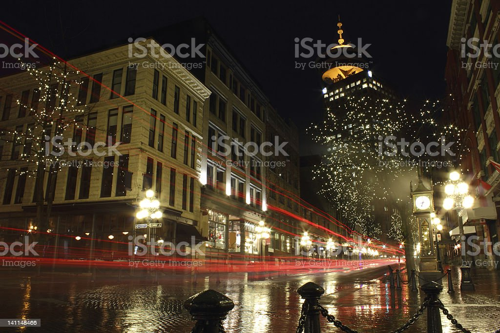 Gastown Vancouver Night stock photo
