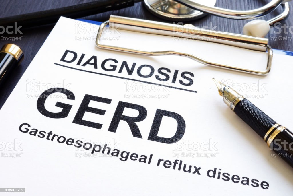 Gastroesophageal reflux disease GERD on a clinic desk. stock photo