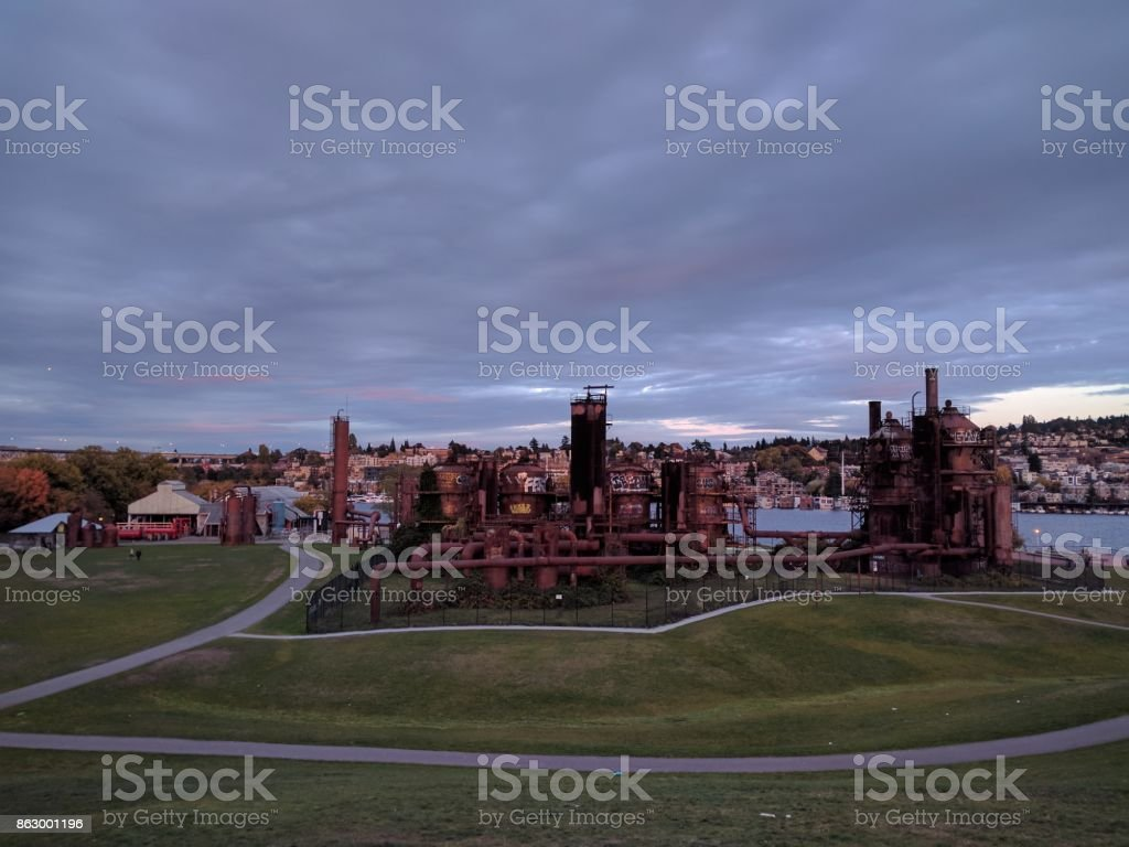 Gasworks park in Seattle stock photo