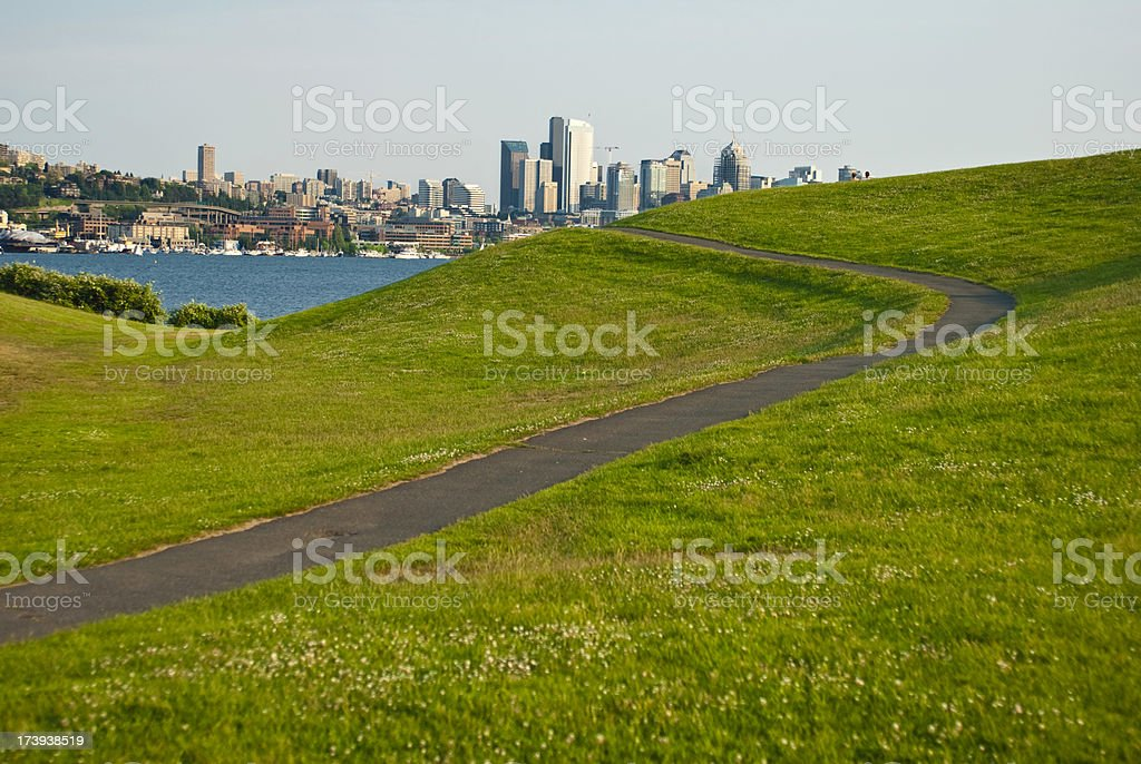 Gasworks park in Seattle, WA looking at downtown stock photo