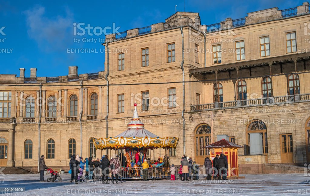 Gatchina Palace, New Year's Fair on the parade ground. stock photo