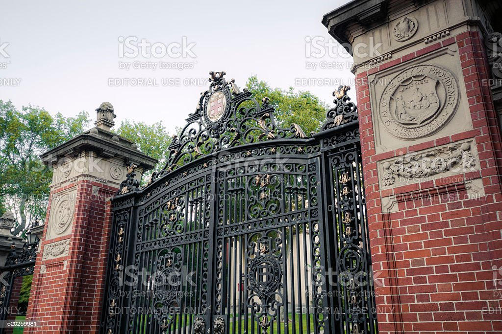 Gate at entrance to Brown University in Providence, Rhode Island stock photo