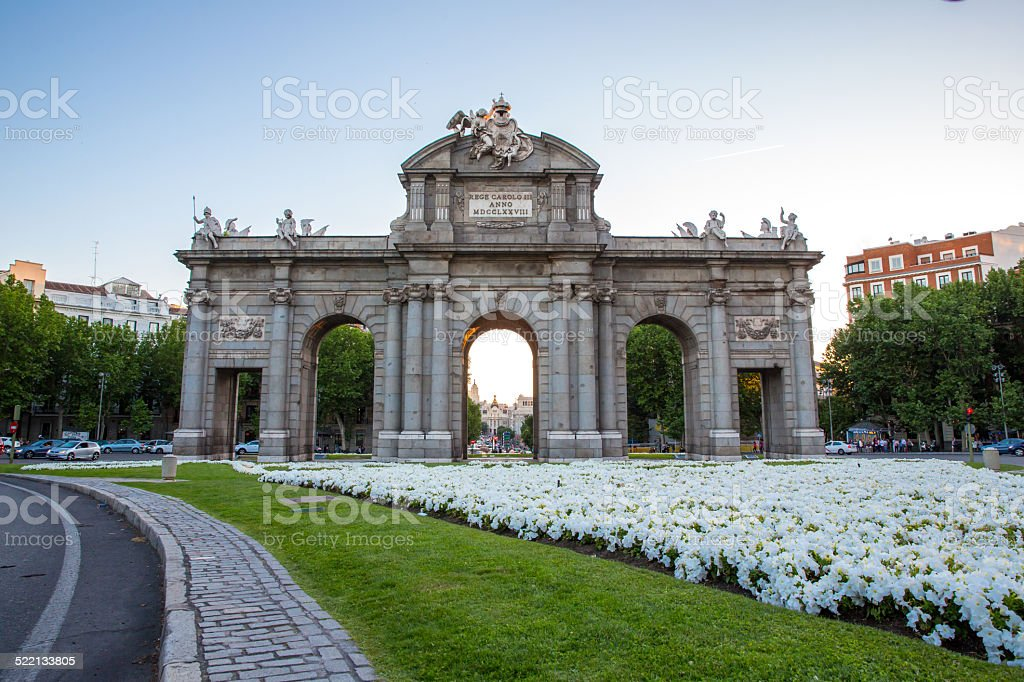 Gate at Independence Square Madrid Spain stock photo