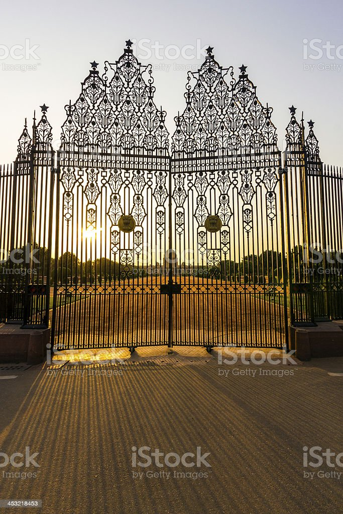 gate at indian parliament in Delhi stock photo