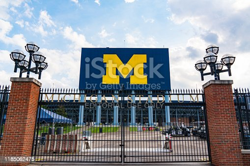 Ann Arbor, MI - September 21, 2019: Entrance gate at the University of Michigan Stadium, home of the Michigan Wolverines