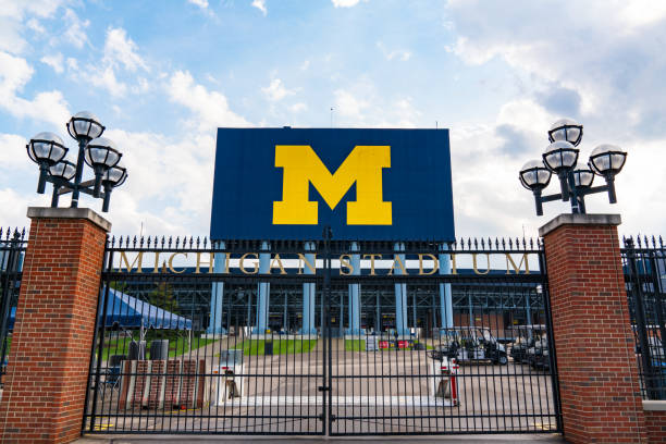 Gate at University of Michigan Stadium Ann Arbor, MI - September 21, 2019: Entrance gate at the University of Michigan Stadium, home of the Michigan Wolverines ann arbor stock pictures, royalty-free photos & images