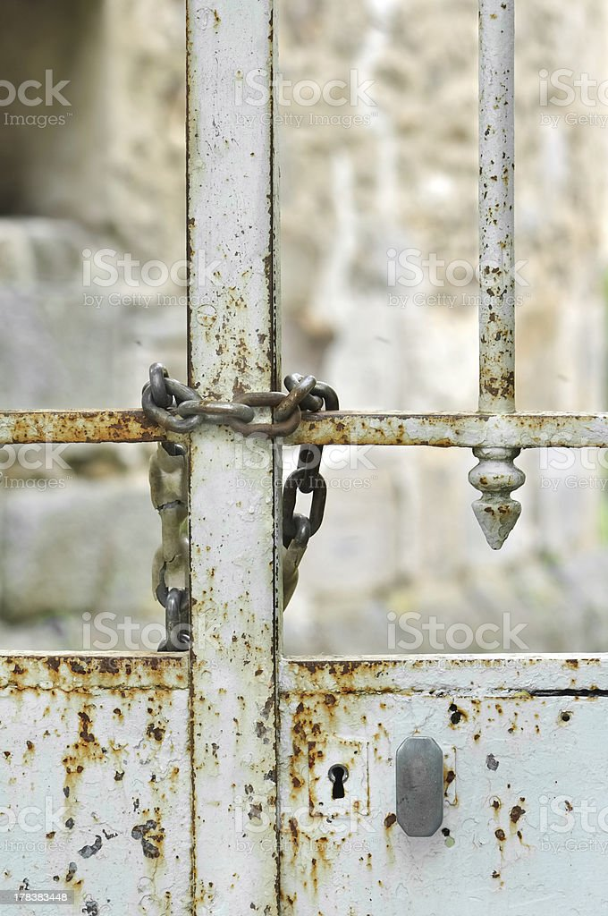 gate  closed by a chain stock photo