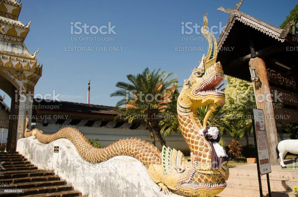 Gate entrance naga staircase at Wat Phra that chom ping stock photo