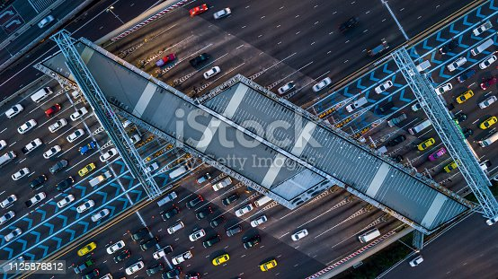 Gate for expressway fee payment, Aerial view car at gate for expressway fee payment.