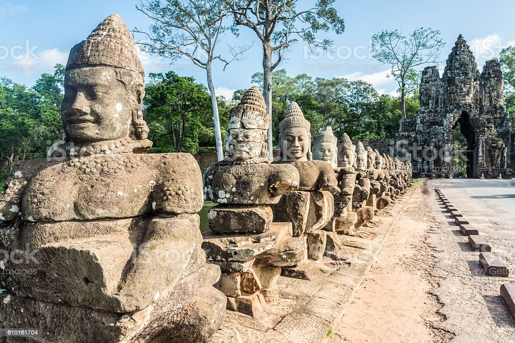 Gate guardians, Angkor, Cambodia stock photo
