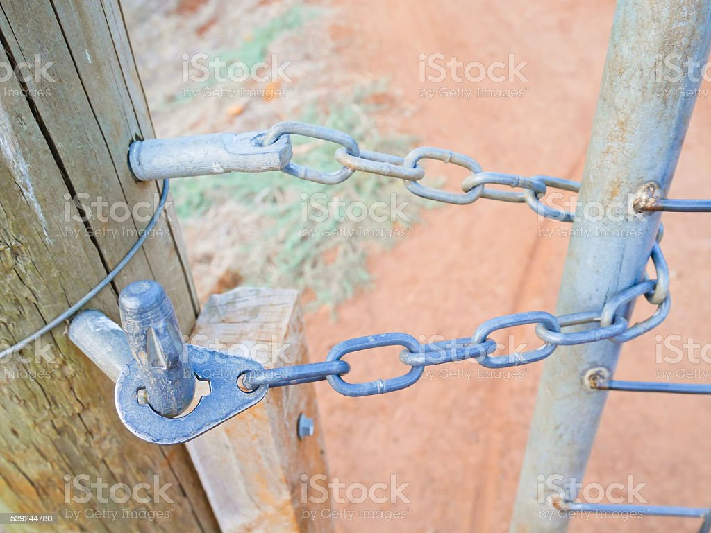Gate held with chain royalty-free stock photo