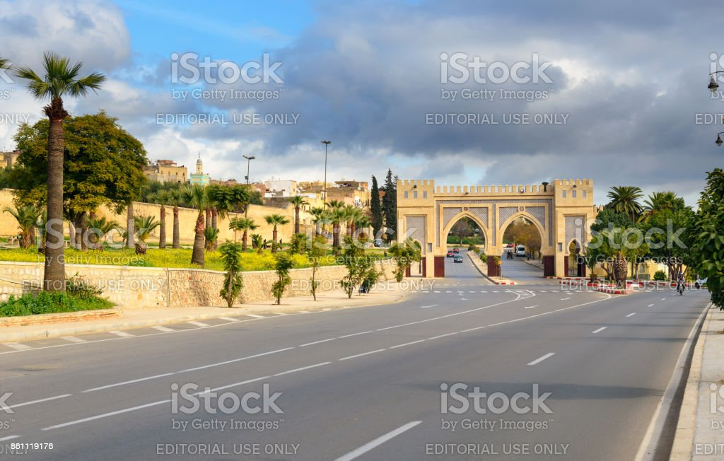 Gate in old city at Fes. Morocco stock photo