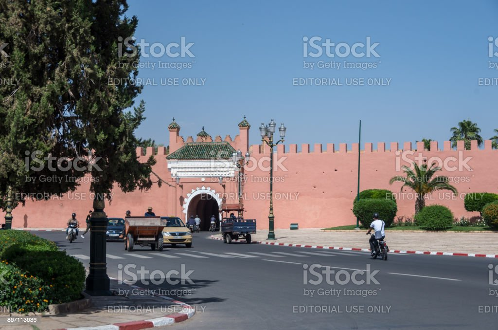 Gate in old city walls, Marrakech medina, Morocco stock photo