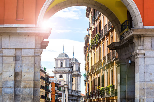 Gate in old town of Madrid stock photo