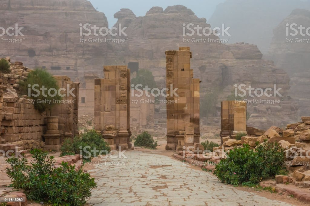 Gate near Great Temple in Petra stock photo