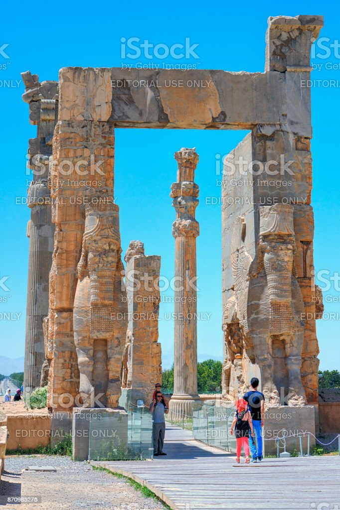 Gate of All Lands in ancient city of Persepolis, Iran. stock photo