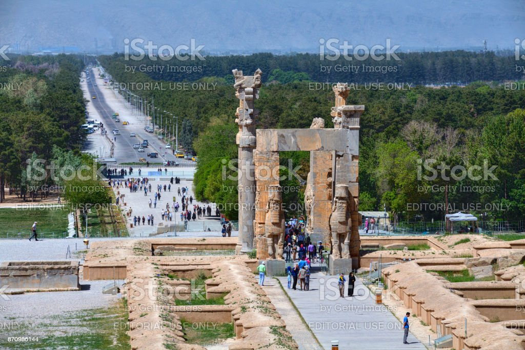 Gate of all Nations in ancient persian Persepolis city, Iran. stock photo