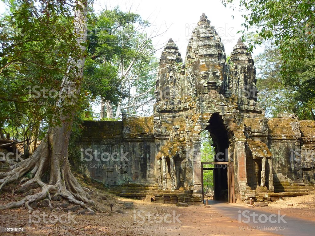 Gate of Angkor Thom in Cambodia stock photo
