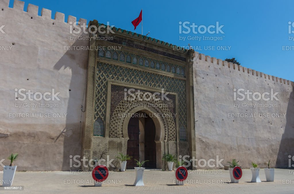 Gate of Bab el Mansour in Meknes, Morocco stock photo