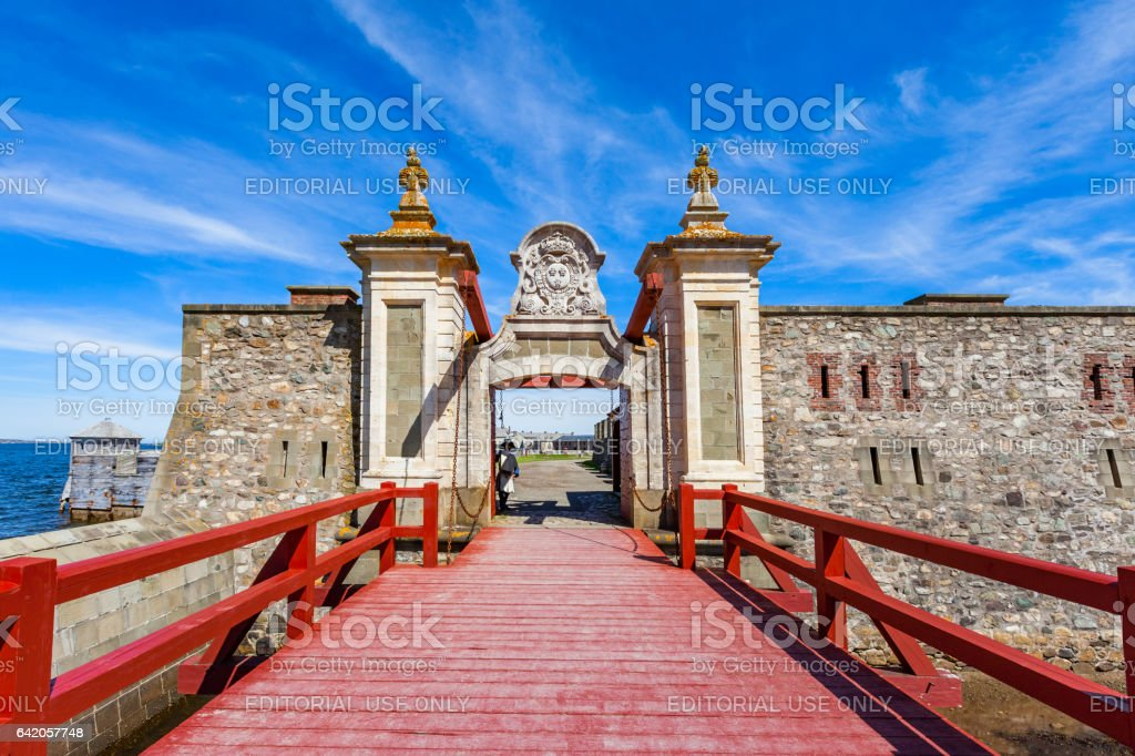 Gate of Fortress of Louisbourg Nova Scotia Canada stock photo