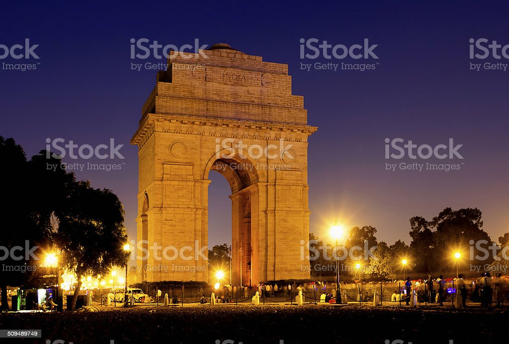 Gate of India at night. India Gate war memorial in New Delhi, India. stock photo