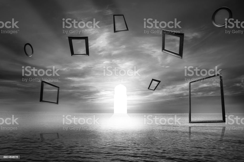 Gate of life ,Illuminated door Symbol of good deed ,Imaginative concept. Use Islamic arches with sea View royalty-free stock photo