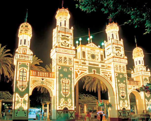 Gate of Light and Fantasy in Melilla's Fair. stock photo