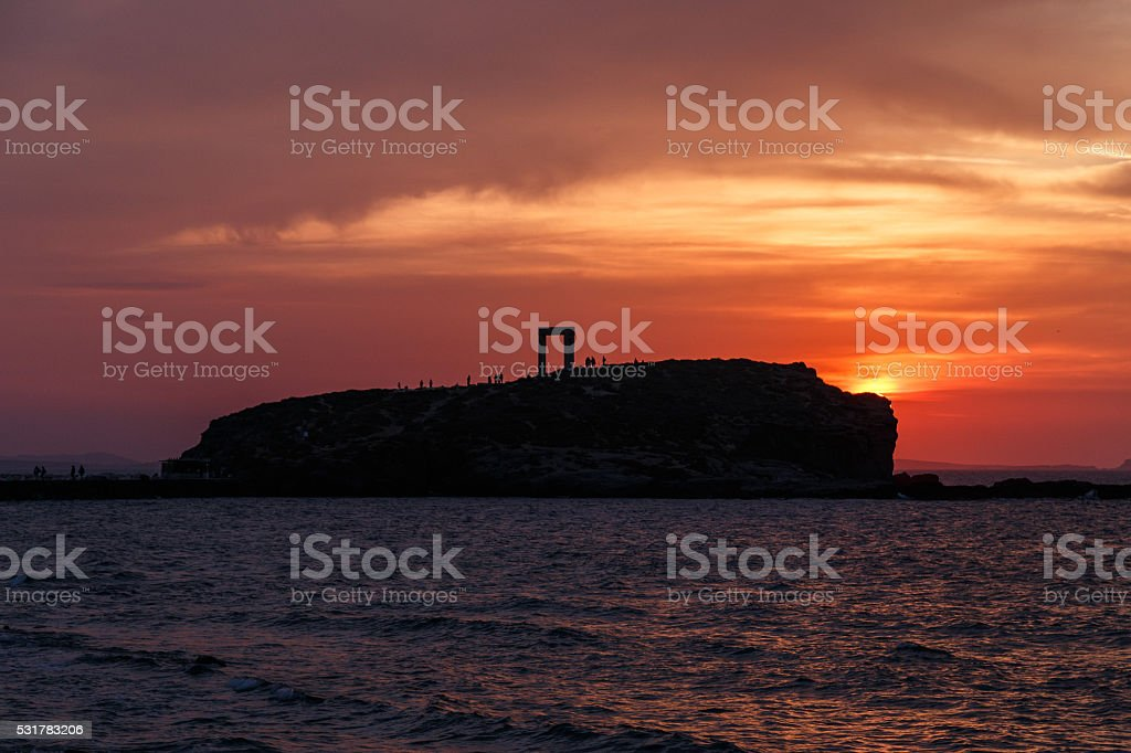 Gate of Naxos - Sunset stock photo